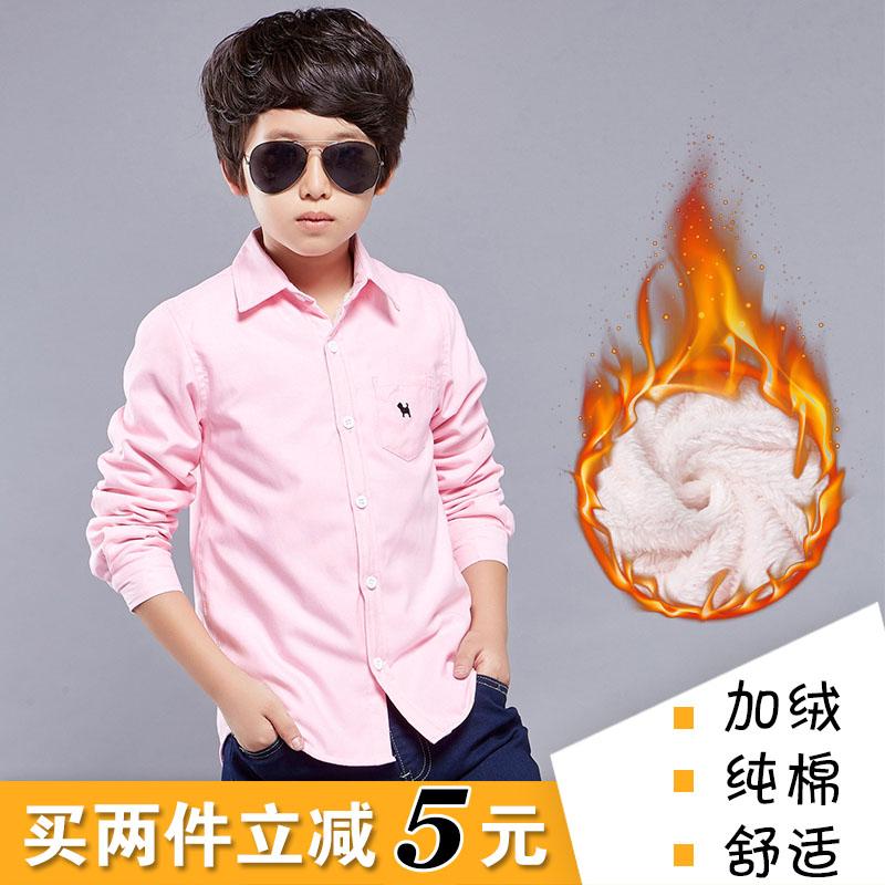 男童加绒衬衫儿童上衣加厚童装秋冬款新款宝宝纯棉保暖衬衣长袖潮