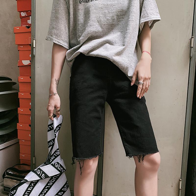 孕妇装牛仔短裤黑色春夏薄款韩国时尚夏季外穿五分毛边紧身热裤子图片