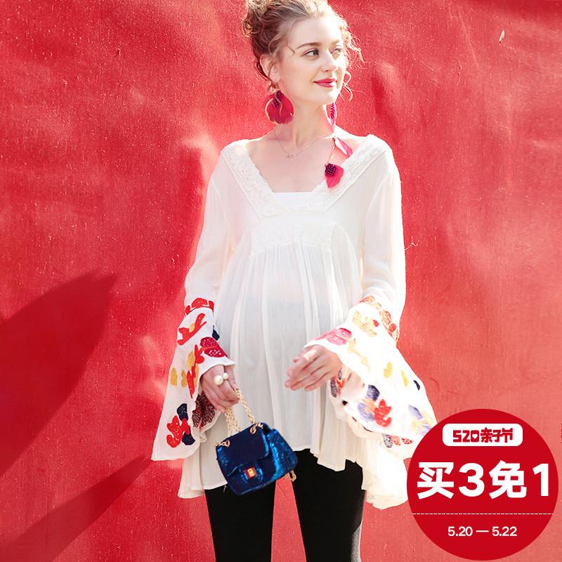 S Jie западный беременная женщина наряд 2018 новый лето время Мода V воротник свободный тонкий печать рукав куртка U7383
