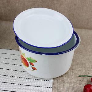 加厚搪瓷快餐杯饭盆 怀旧经典搪瓷碗 泡面碗快餐杯带把带盖饭缸