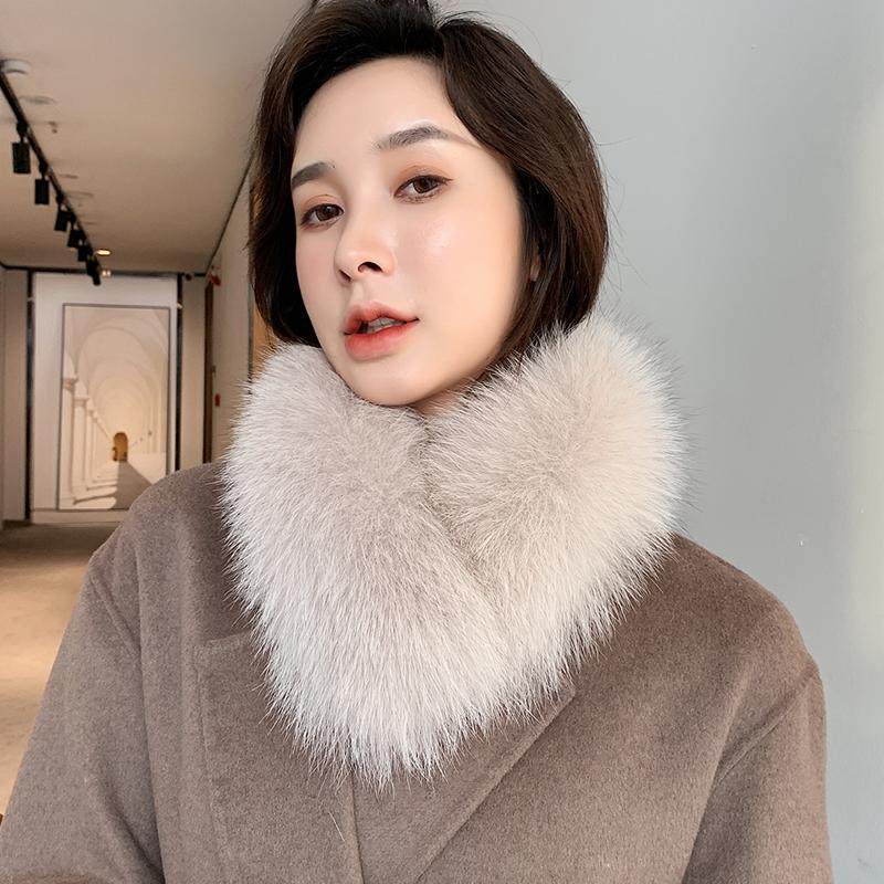 韩版气质冬季新款女士狐狸毛围巾 皮草围巾 真毛领子吸扣保暖围脖