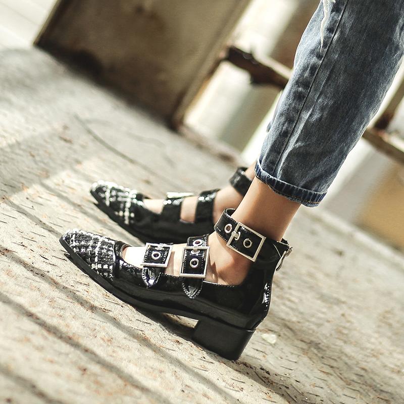 赫本鞋女新款法式少女高跟鞋粗跟一字扣玛丽珍鞋女复古网红女单鞋