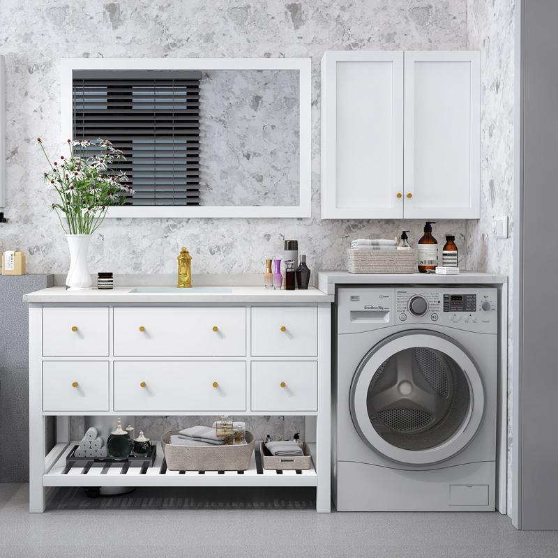 券后2160.00元滚筒洗衣机一体柜子北欧浴室柜组合实木卫生间洗脸洗漱台盆柜定做