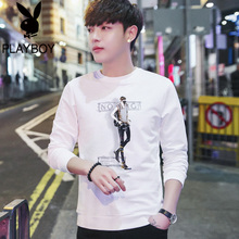 Playboy autumn men's t-shirt, long-sleeved sweater, men's white bottom trendy shirt, spring and autumn clothes