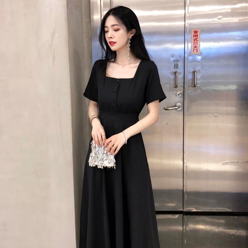 夏季连衣裙女2018新款 ins超火的裙子显瘦复古长裙chic赫本小黑裙