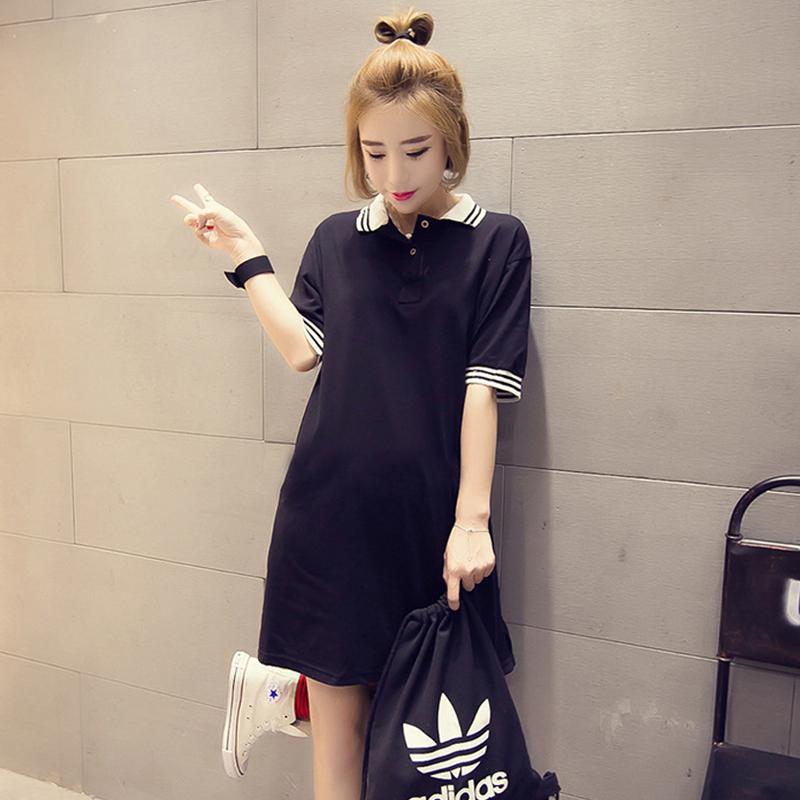 夏季韩版大码中长款短袖纯棉T恤裙学生上衣直筒POLO衫打底衫黑色
