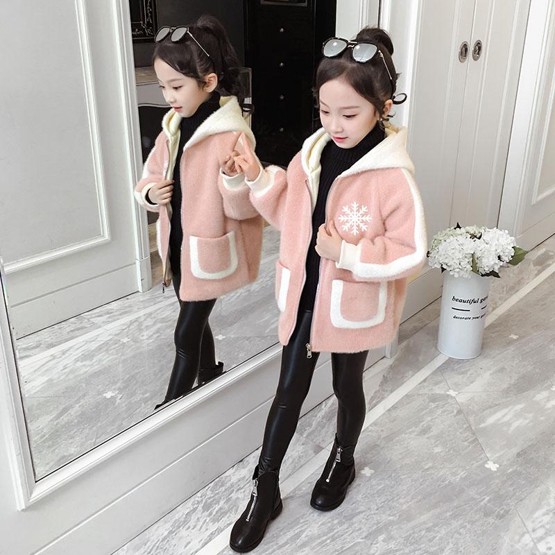 女童连帽棉衣冬装2019新款儿童加绒外套女孩棉服小学生潮毛绒棉袄