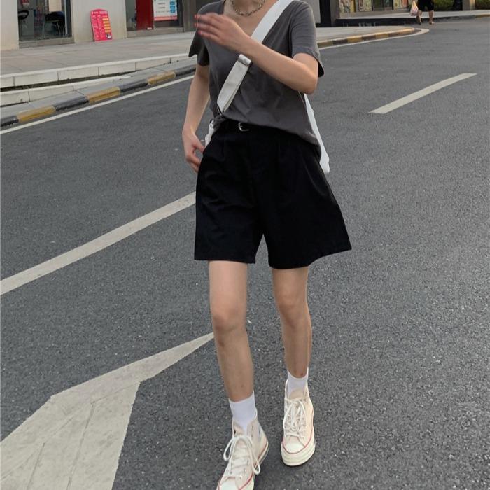 夏装chic纯色休闲西装裤女五分裤限10000张券