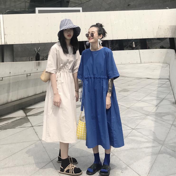 韩国夏季复古宽松中长款圆领短袖抽绳收腰显瘦纯色连衣裙学生长裙