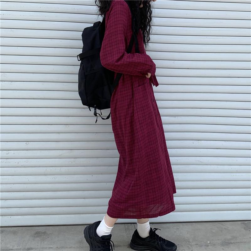 (用0.020000000000003元券)中长款格子秋季韩版法式小众衬衫裙
