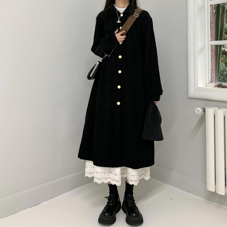 秋装连衣裙女秋季穿搭叠穿黑色长袖裙子法式小众复古赫本过膝长裙图片