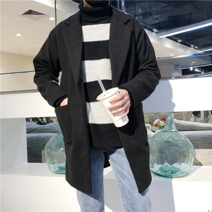 秋冬韩版百搭中长款风衣帅气青少年保暖修身呢子外套毛呢大衣男女