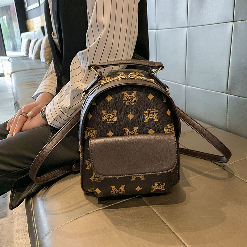 Backpack womens leather Korean fashion Mini simple cowhide college style versatile backpack womens bag