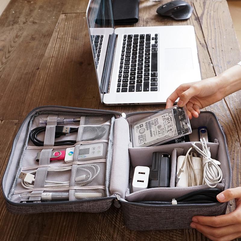 數據線收納包多功能數碼收納U盤耳機充電器滑鼠收納袋保護盒蘋果聯想小米戴爾hp華碩筆記本電源線移動電源寶