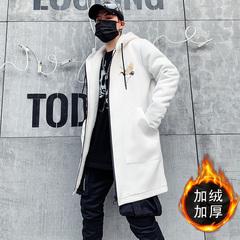 秋冬大码潮牌中长款中国风风衣青少年加绒加厚学生外套男F909-P85
