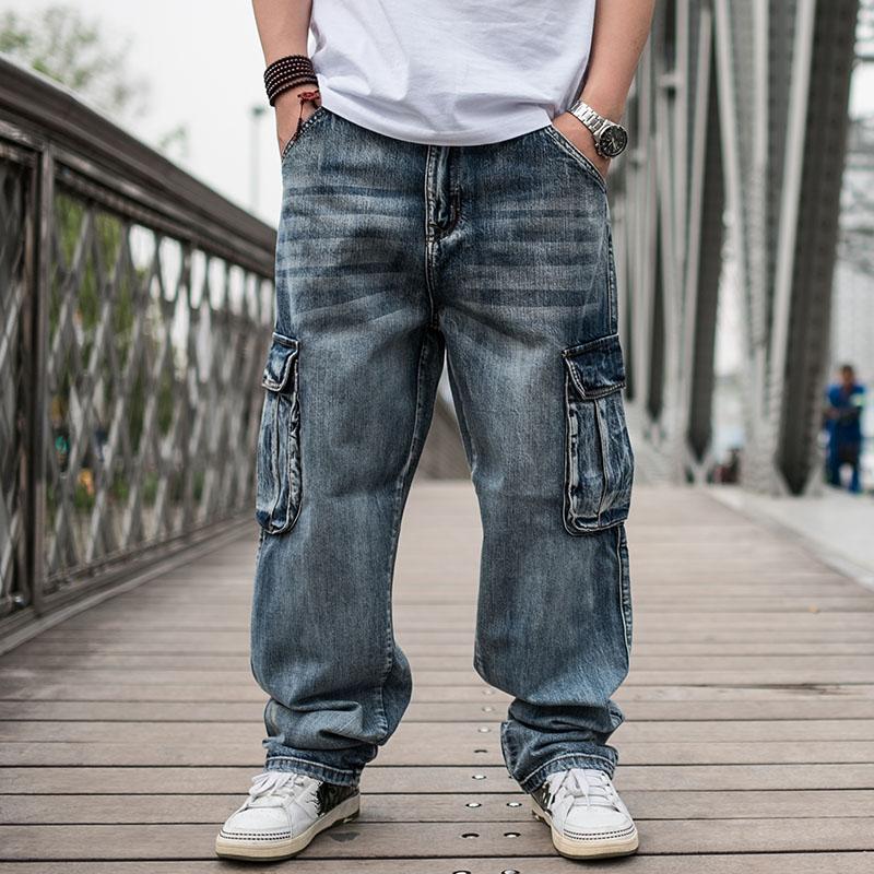 潮胖子大码牛仔长裤 男青年宽松肥佬裤 加肥加大多口袋男士牛仔裤