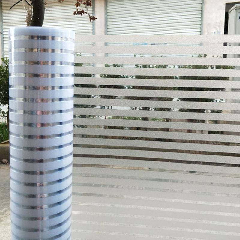 静电免胶磨砂办公室玻璃贴膜半透明条纹移门隔断防撞腰线窗户贴纸