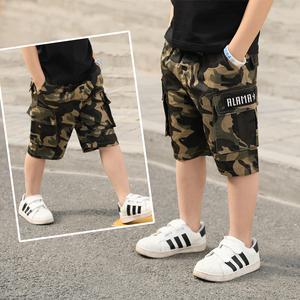男童短裤儿童夏装薄款外穿裤子男孩夏季工装裤大童迷彩中裤五分裤