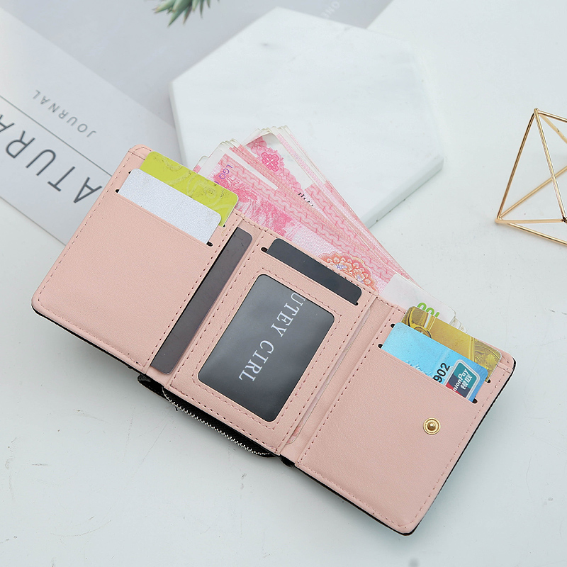 Womens bag short buckle purse three fold Wallet fashion trend versatile short wallet student pocket change