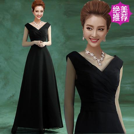 Evening dress 2018 sexy black V-neck bride and bridesmaid long wedding dress