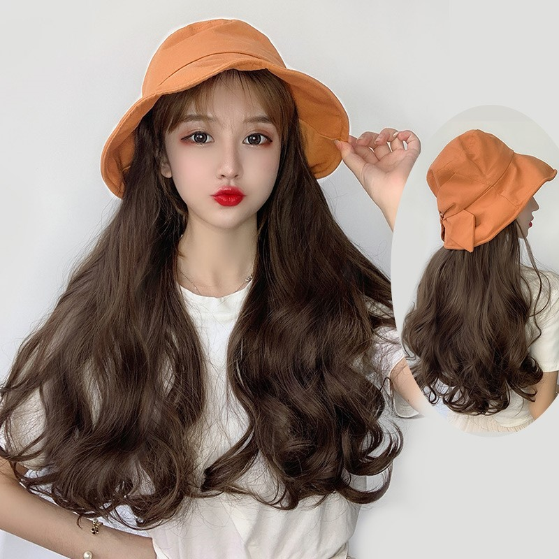 Fishermans wig and hat in one fashion womens summer long curly hair