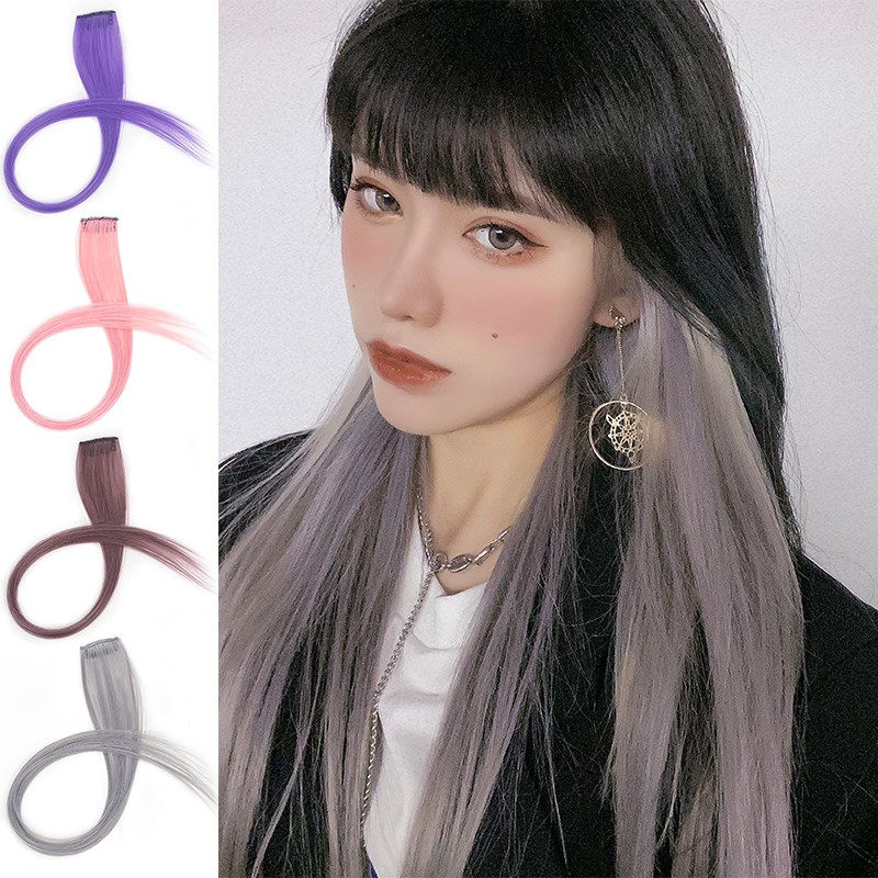 Color wig piece one piece traceless natural straight hair patch invisible pick dye gradient female long hair hanging ear dye hair transfer