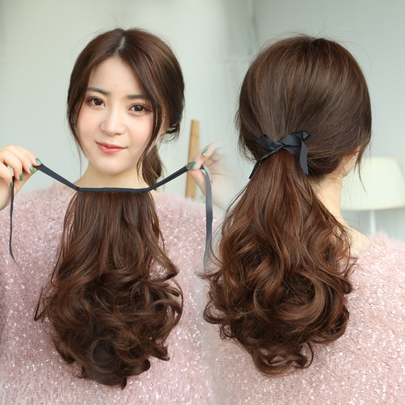 Wig ponytail lifelike bandage girls pear blossom long curly hair big wave hairpiece simulation hair low ponytail