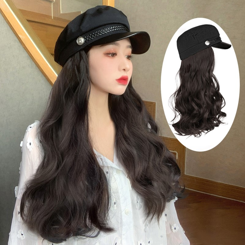 Wig womens long curly net red spring autumn new Korean fashion Navy octagonal hat wig