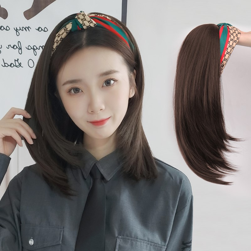 Wig hat one fashion net red lazy hair band wig long hair Korean style wave head full set