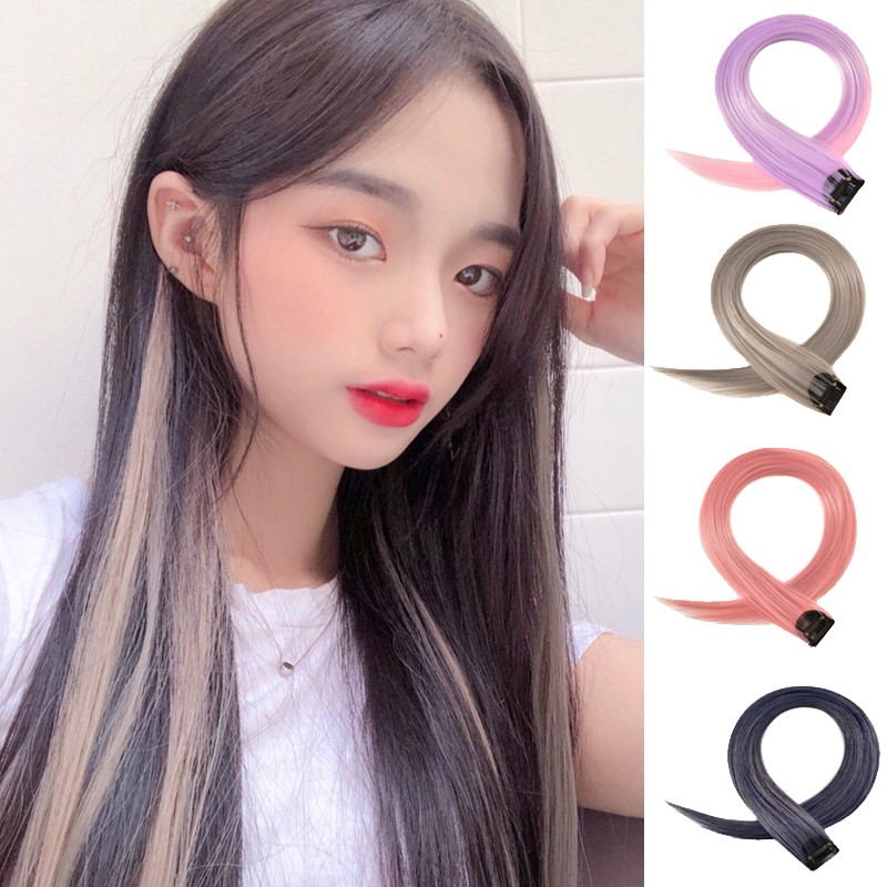 Color hanging ear dye wig piece womens long hair one piece no trace invisible no trace pick dye hair patch Pink