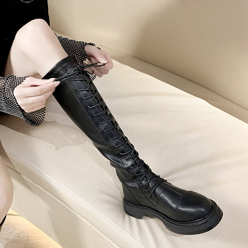 Womens boots fall and winter 2020 new plush versatile show thin over the knee high tube in the tube Martin Knight boots