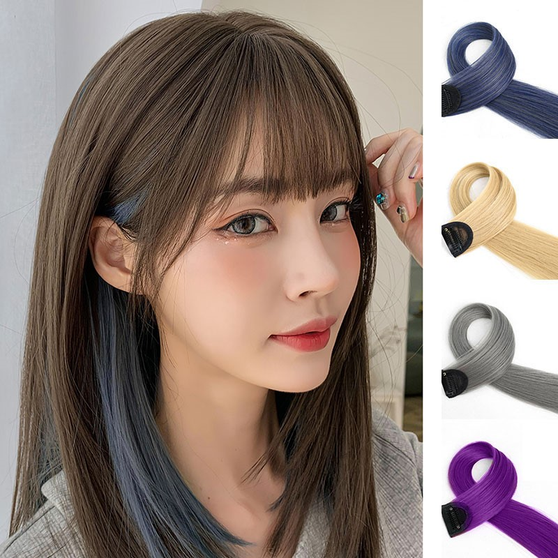 Color wig piece invisible no trace hanging ear hair dye piece highlights one piece hair extension piece natural long hair straightening piece