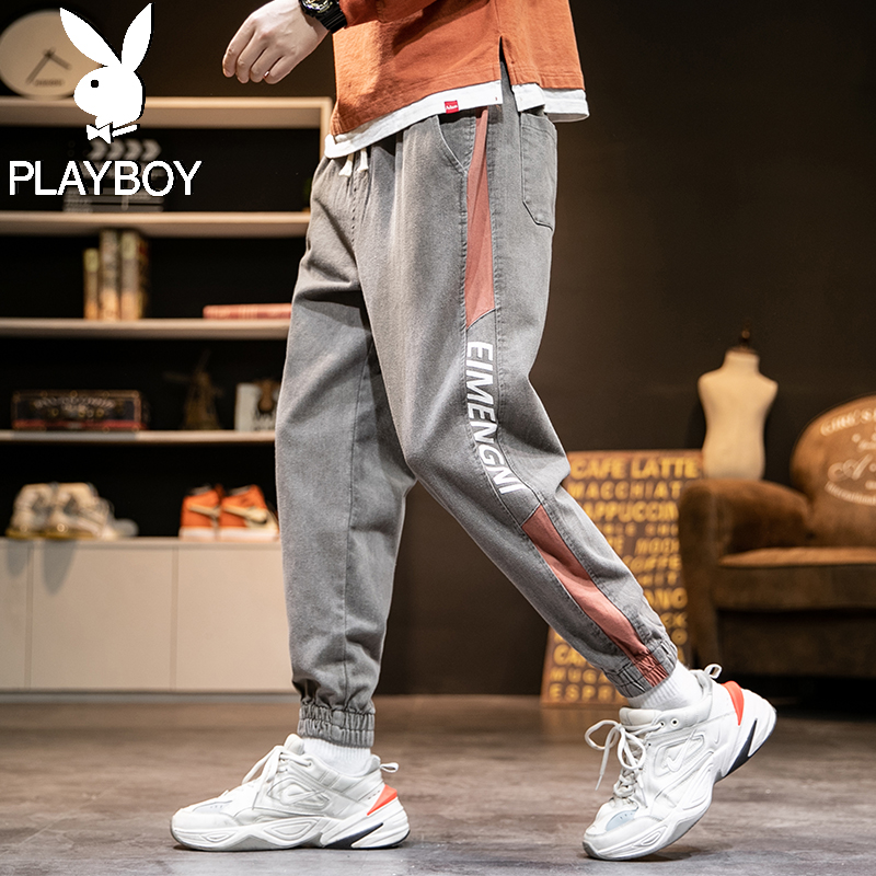 Playboy jeans pants mens fashion brand all-around trend 9 points loose overalls mens legging casual pants