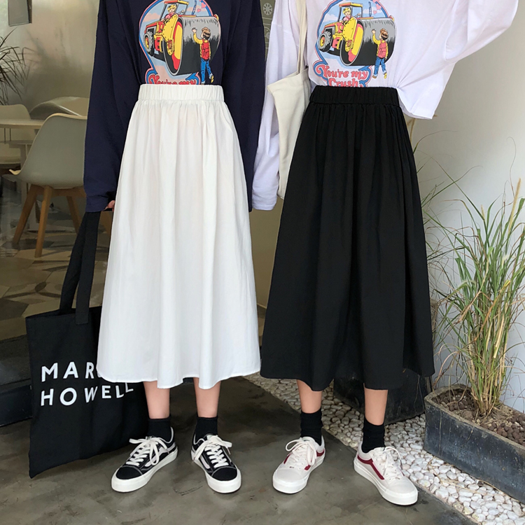 Black high waist long skirt over the knee A-line skirt female spring and autumn students with sweater versatile umbrella skirt female white skirt