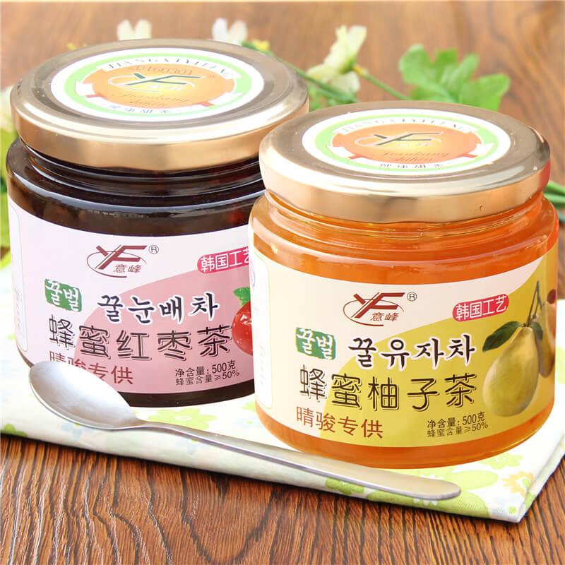 送杯勺 意峰蜂蜜柚子茶500g 紅棗茶500g韓國風味蜜煉醬水果茶衝飲