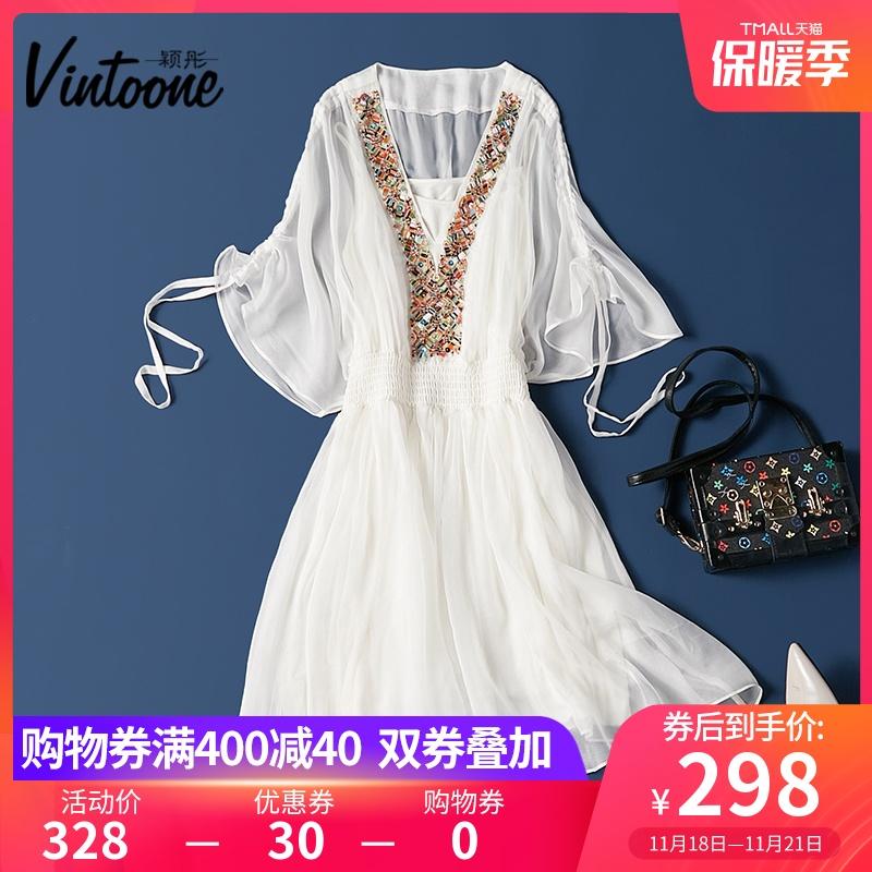 波西米亚沙滩裙小众白色仙女真丝连衣裙夏季海边度假桑蚕丝中长裙
