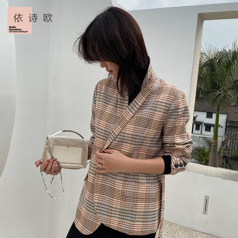 New Retro Plaid suit for women in spring and summer 2020