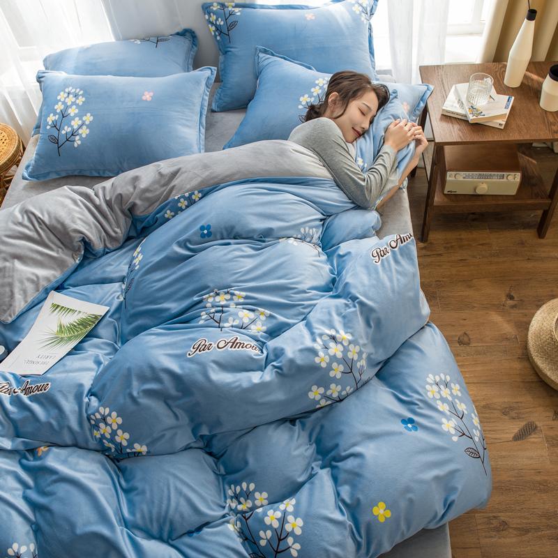 珊瑚绒四件套冬季牛奶短绒被套床单水晶宝宝法兰绒三件套床上用品