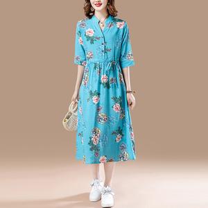 棉麻连衣裙女夏新款宽松大码立领显瘦收腰中长款亚麻裙子,女装连衣裙,蓝之韵棉麻文艺