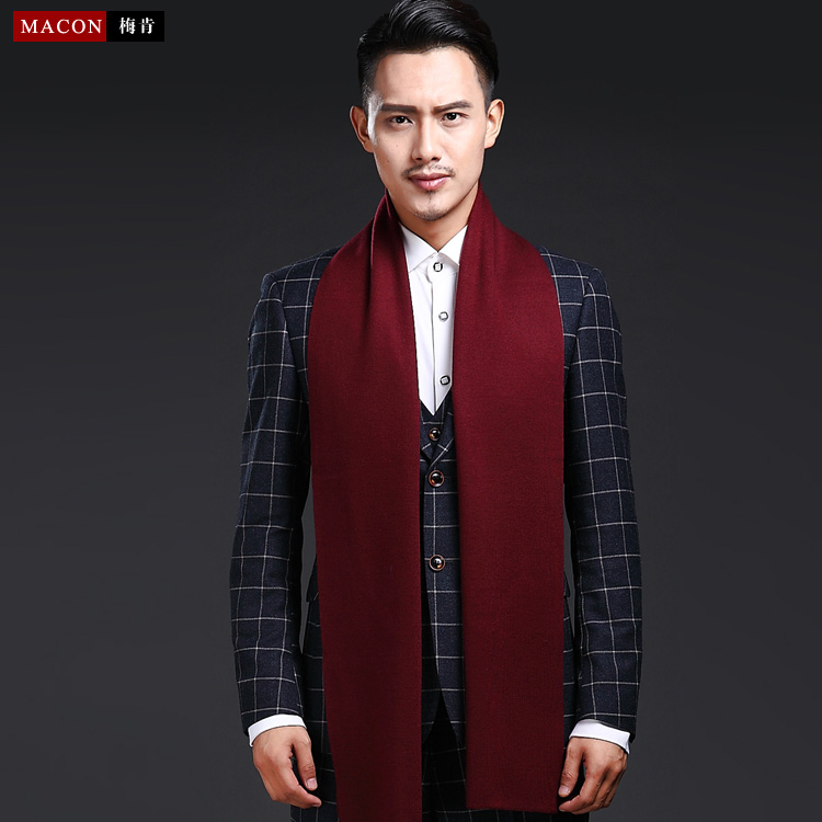 Solid wine red wool scarf mens winter gift box Korean lengthened knitting warm crimson thick embroidered logo