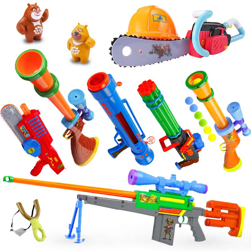 美高樂熊出沒玩具套裝光頭強電鋸玩具槍兒童鋸子軟彈槍狙擊槍