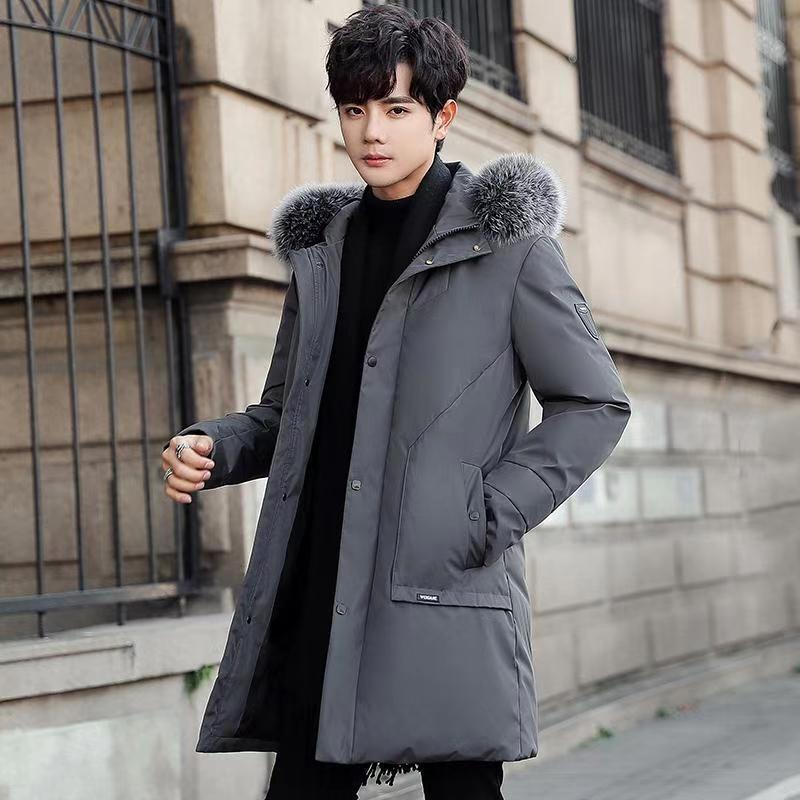 男士长款羽绒服男装冬季新款黑连帽宽松加厚保暖有大货MY668-P145