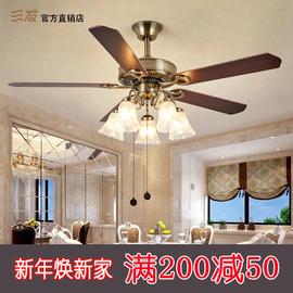 三发风扇灯欧式复古带风扇吊灯客厅家用餐厅吊扇灯现代简欧吊扇灯