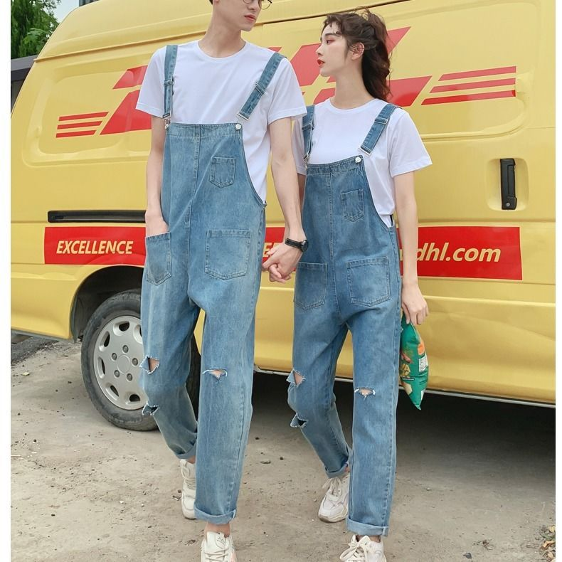 2020 new mens suspenders fashion brand loose large one-piece jeans mens and womens father Suspenders