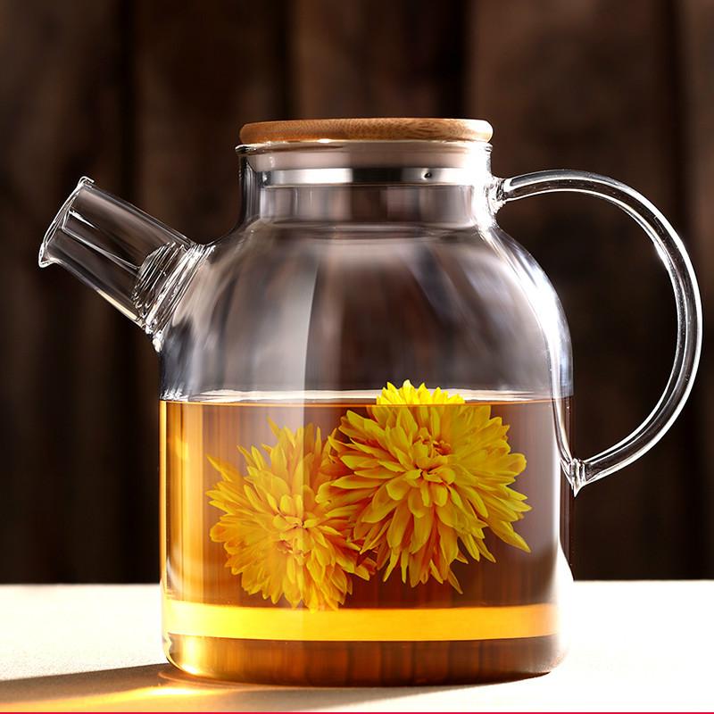 Прозрачное стекло повар днем чай чайный сервиз фрукты пузырь фрукты чайник ароматный чай кубок костюм домой сопротивление горячей свеча отопление