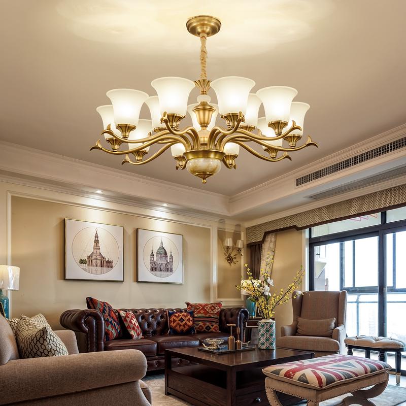 世冠 欧式吊灯客厅灯简欧灯具餐厅灯美式铜灯奢华大气全铜吊灯
