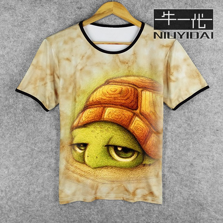 Summer European and American youth trend men and women 3D turtle personalized clothes animal print pattern short sleeve T-shirt half sleeve