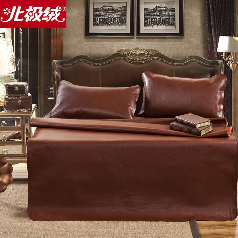 北极绒加厚头层水牛皮凉席三件套纯色软席子1.8m床上用品裸睡,可领取20元天猫优惠券