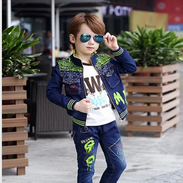 童装秋装男童套装2018新款小童3牛仔4潮衣5岁宝宝儿童三件套韩版