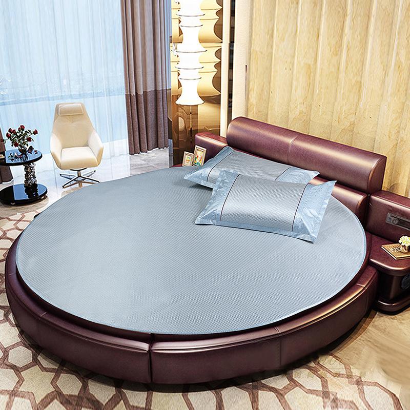 圆床冰丝凉席三件套藤席圆形席子夏天空调席可折叠2.0m2.2米床,可领取20元天猫优惠券